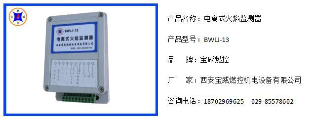 西安宝威燃控长期供应BWLJ-13电离火焰检测器电离电针与检测器连接距离≦100米