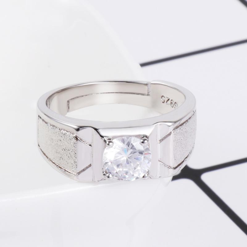 韩版时尚大男戒 磨砂霸气个性  镀18K白金 仿真钻戒 S925银 男士戒指