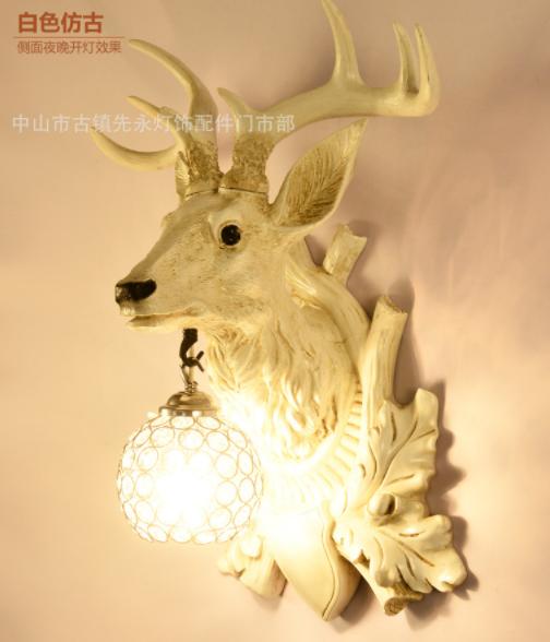 田园现代鹿角鹿头壁灯 批发水晶灯罩 壁灯 吊灯 顶灯