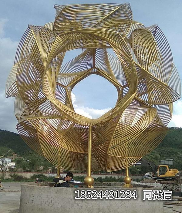 不锈钢电镀24k金球雕塑不锈钢管