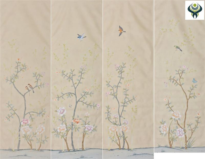 【江苏丝绸手绘壁画】 江苏丝绸手绘壁画优质供应商【无锡琴棋壁画】
