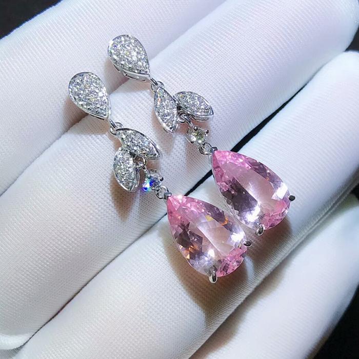 18K金伴钻镶嵌粉摩根耳坠一对6.84克拉颜色粉嫩仙气满满上身效果漂亮