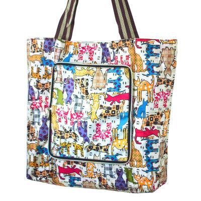 折叠购物袋帆布手提袋女学生袋子大容量环保袋防水便携超市买菜包
