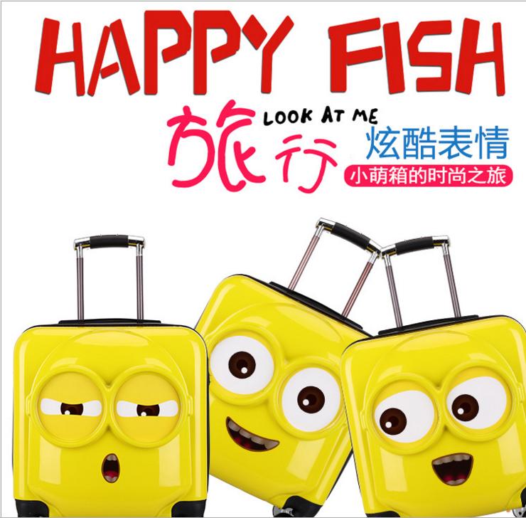 新款卡通拉杆箱万向轮行李箱小黄人拉杆箱密码托运箱子18寸登机箱