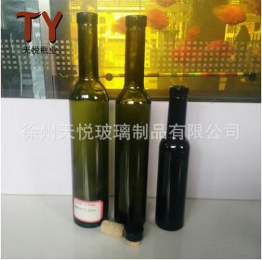 批发新款墨绿玻璃葡萄酒瓶 厂家加工定制圆形葡萄酒瓶果汁饮料瓶