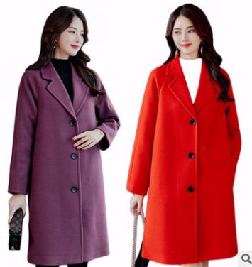 2018秋冬新款韩版女士大码毛呢外套中长款百搭潮呢子大衣