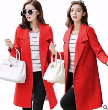 2018秋冬新款韩版毛呢外套修身显瘦大码中长款呢子大衣女装