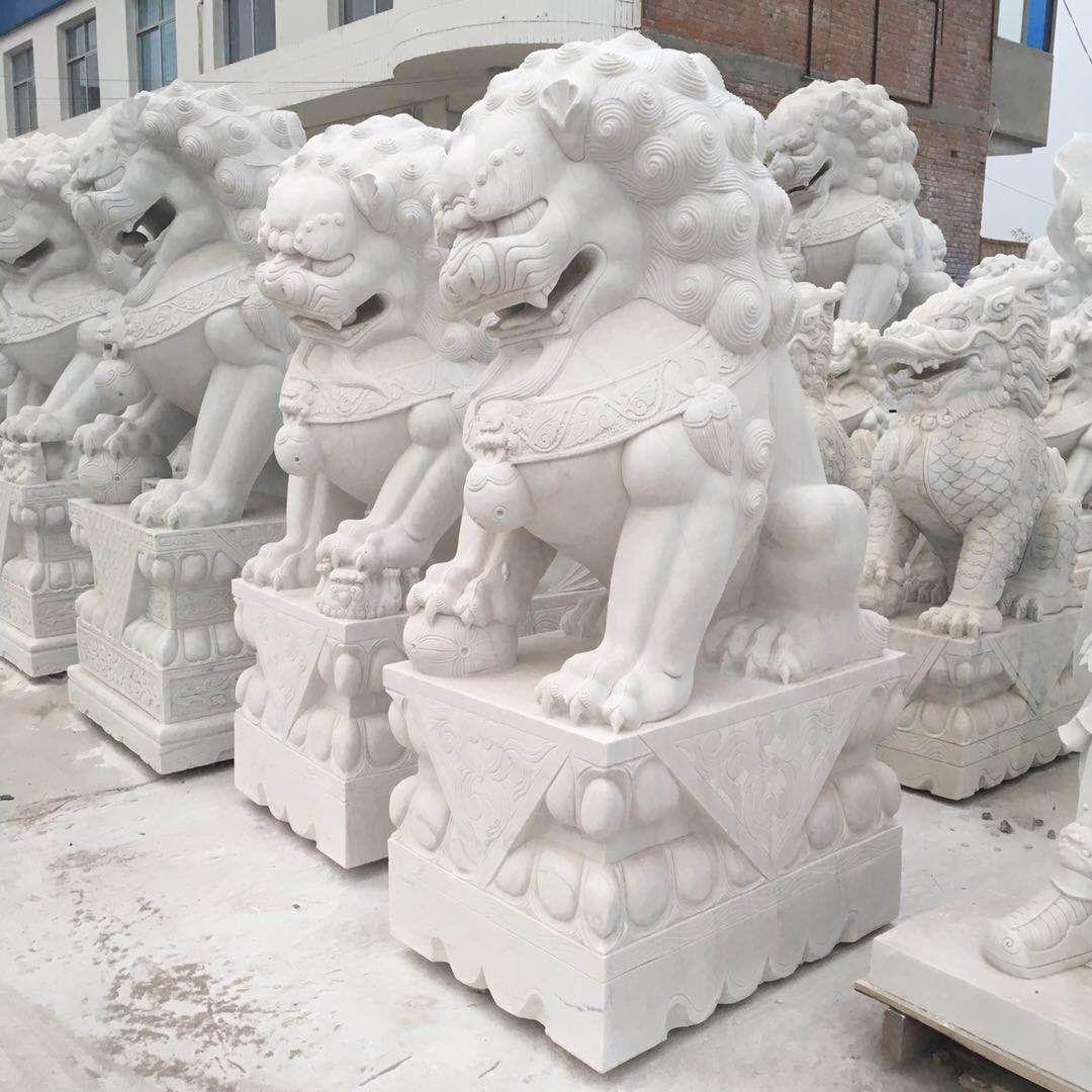 石雕石狮子|保定石狮子石雕定做|石材浮雕汉白玉石狮子|