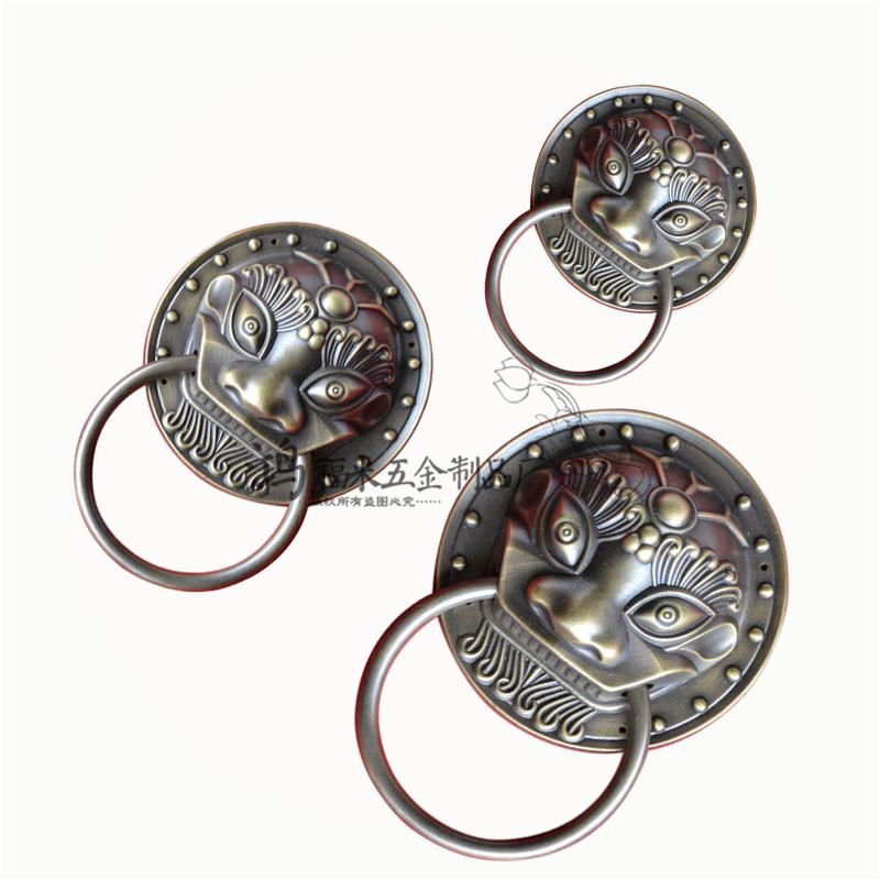 仿古中式纯铜装饰兽头/古典大门虎头拉手/仿古纯铜头门环狮子