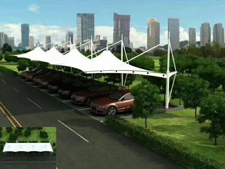 膜结构车棚 膜结构尖顶形车棚