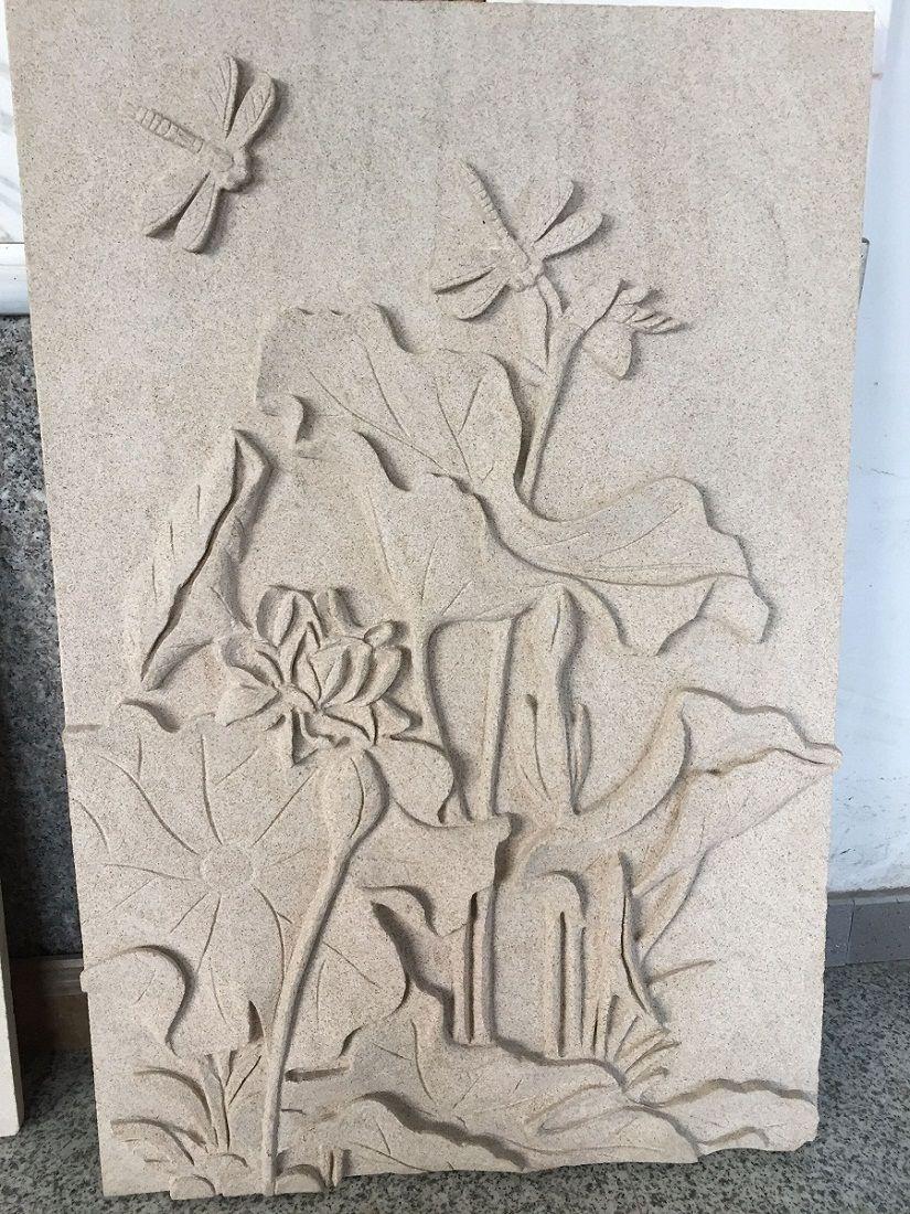 荷花浮雕砂岩报价 客厅背景墙 专业黄砂岩雕刻