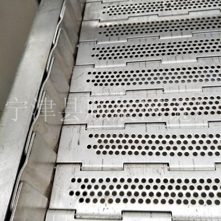厂家定做宽幅不锈钢餐具清洗流水线链板输送机 不锈钢链板输送机 冲孔链板输送机