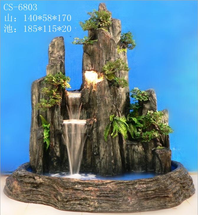 城市花园流水家饰 大型树脂假山流水喷泉 假山摆饰 室内假山批发