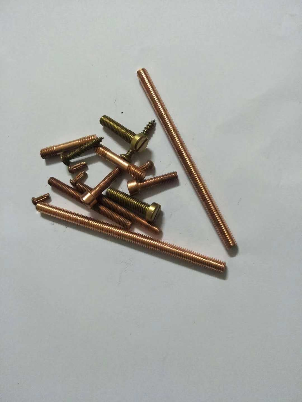 红紫铜杯头内六角螺丝  T2紫铜红铜双头螺丝,可定做M4-M12螺栓长双单头螺杆 江苏无锡镇江红紫铜杯头内六角螺丝