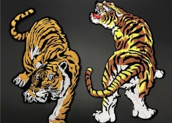 老虎刺绣布贴背胶补丁贴服装装饰辅图片