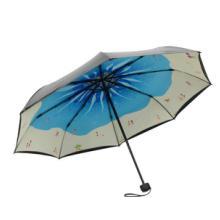 折叠两用伞 厂家创意手开三折小黑伞 防紫外线遮阳伞 黑胶双层伞晴雨两用伞 数码印刷 折叠两用伞
