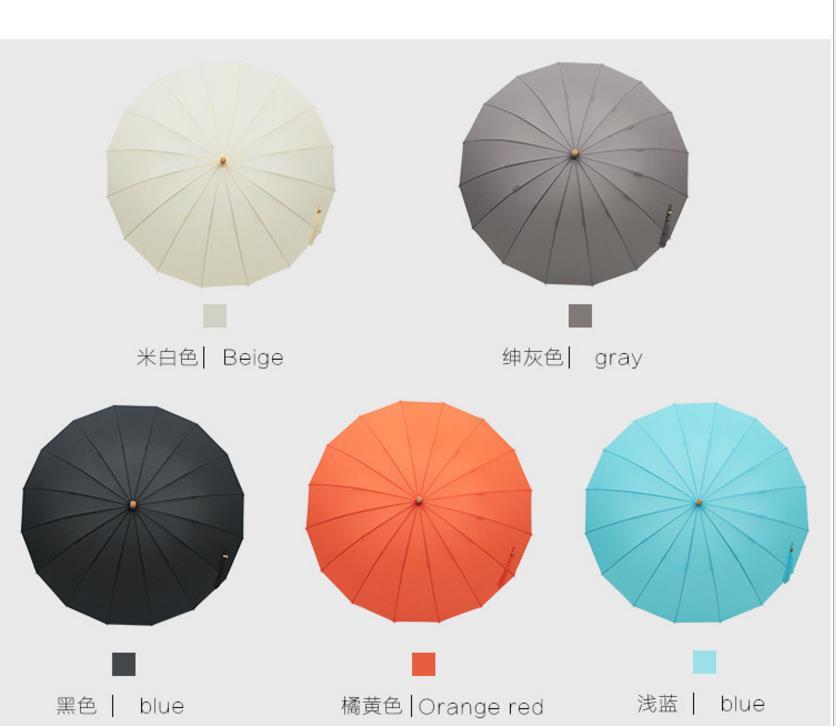 新款竹柄商务24骨礼品晴雨伞直杆太阳伞雨伞厂家直销可定制 LOGO 商务伞  自动伞 雨伞定制