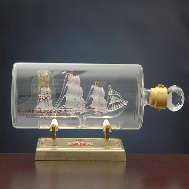 定制白酒瓶厂家生产内置帆船玻璃工艺酒瓶