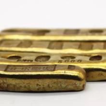 黄铜镀金金条摆件