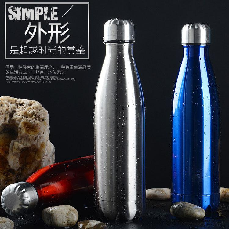 厂家批发304不锈钢保温杯户外保温瓶运动水壶可乐瓶定制logo刻字