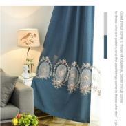 窗帘成品北欧风亚麻棉麻欧式绣花客图片
