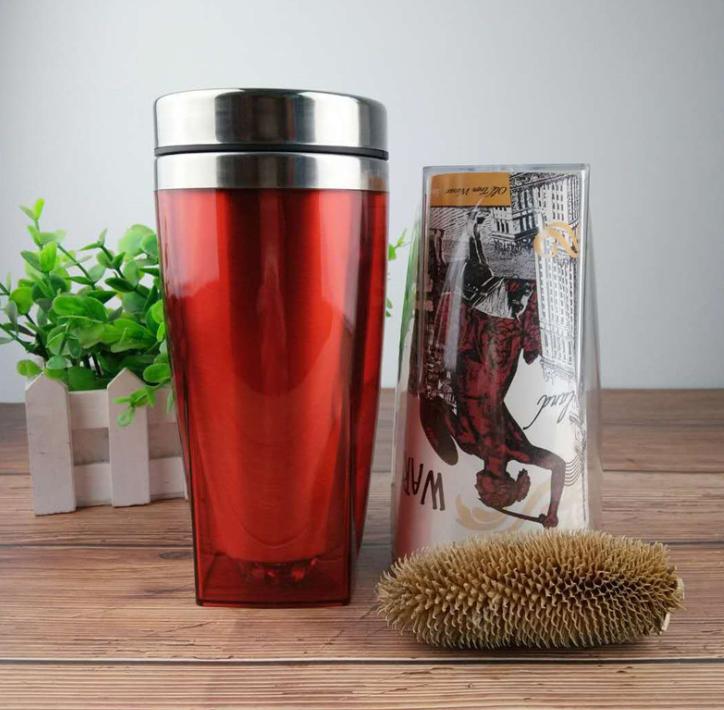 内钢外塑广告杯塑料礼品杯猫爪杯广告纸可定制出口咖啡杯量大价 外塑广告杯