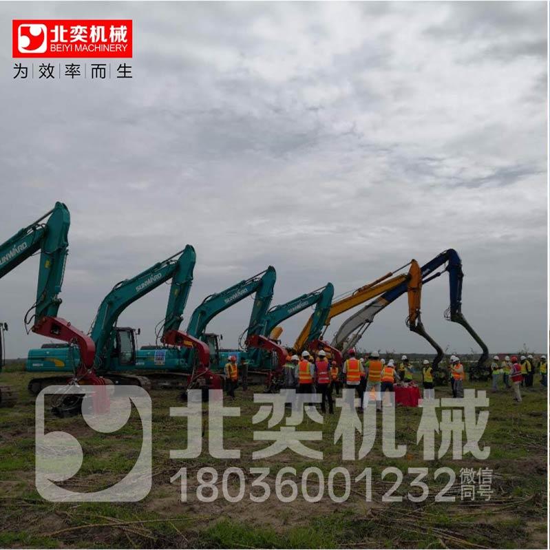 机械手打桩臂打桩锤头 可利用挖掘机臂改为加长型的打桩臂配液压振动打桩机最长可打拔18米19米的钢板桩钢护筒桩