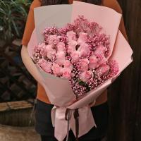 19粉玫瑰花束生日送花北京天津上海西安新疆内蒙古西藏宁夏西安花店配送上门