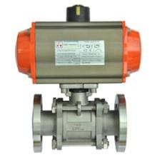 GUQ气动高真空球阀  是通过电磁换向阀改变气路方向,控制执行气缸来驱动球阀,达到接通或切断真空(压力)系统管道路中的图片