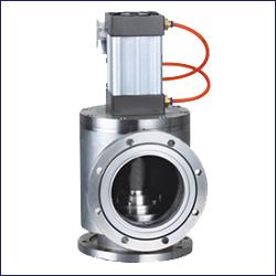 三久GDQ气动高真空挡板阀用途是通过电磁换向阀改变气路方向,控制执行气缸驱动阀门作启闭运动