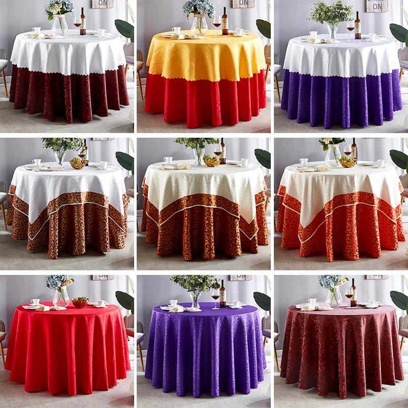 酒店桌布圆桌台布长方形餐厅婚庆宴宴会饭店圆形座布餐桌布布艺订做