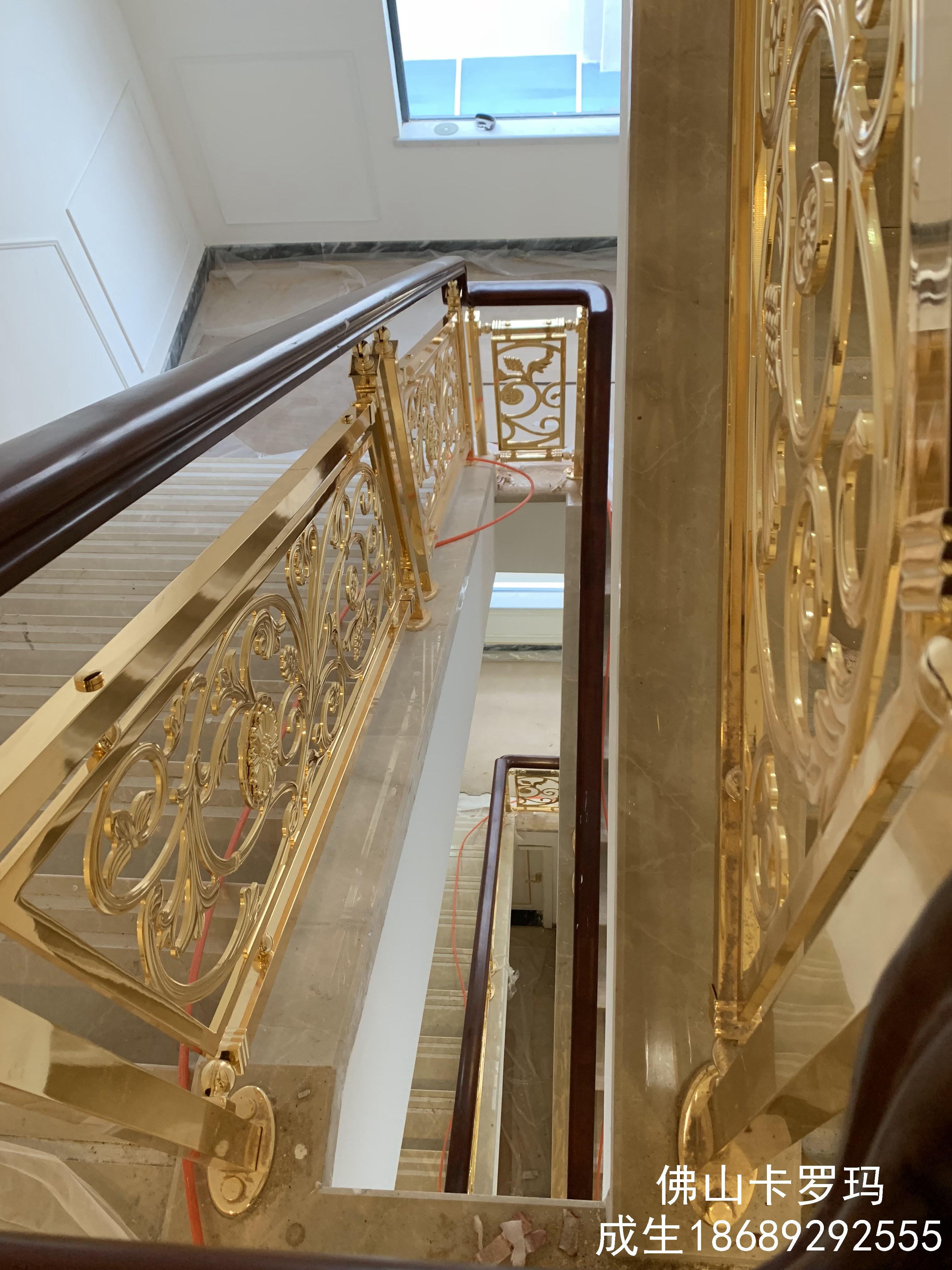 新中式楼梯  分散阶梯式铜艺楼梯扶手  来料加工