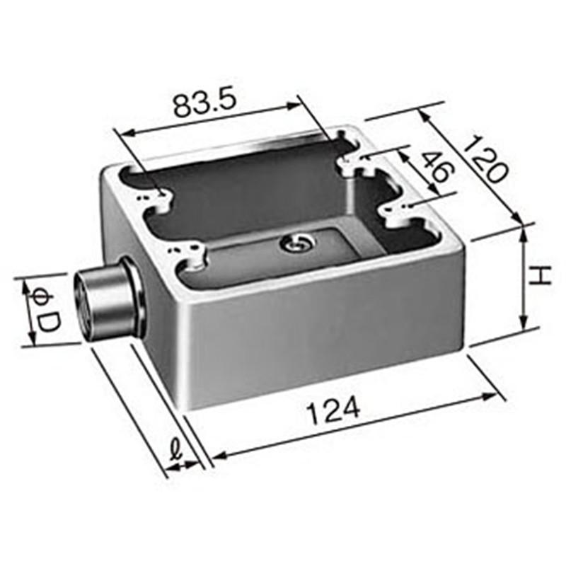 批发销售美标工业插座配用暗装底盒 铝质底盒 120型明装铝质底盒