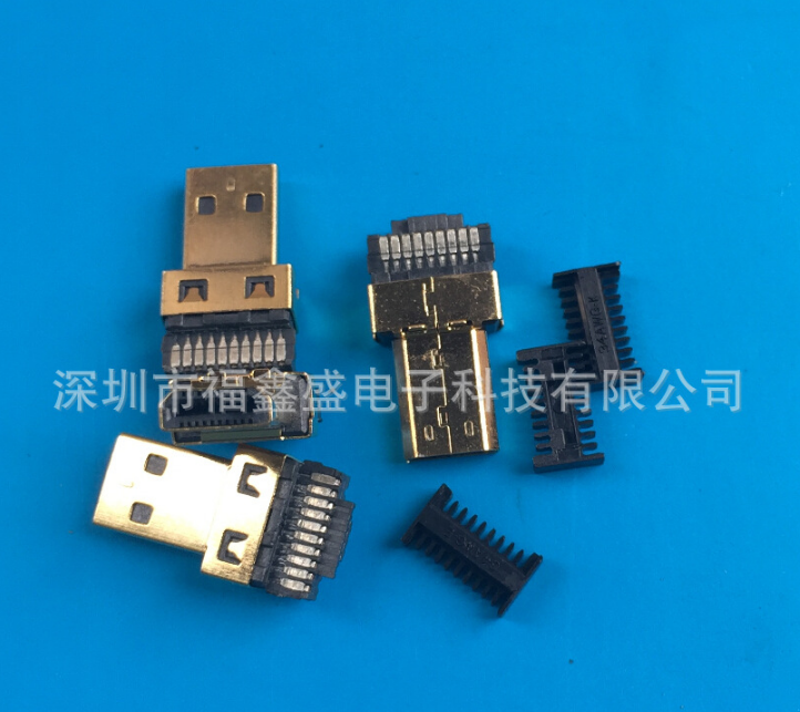 HDMI D型公头焊线式 HDMI D TYPE公头焊线 MICRO HDMI公头连接器