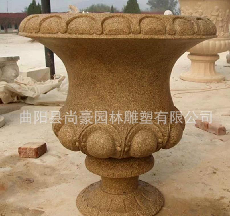 厂家批发石雕花盆 花岗岩欧式花盆花钵 园林景观创意石头容器摆件