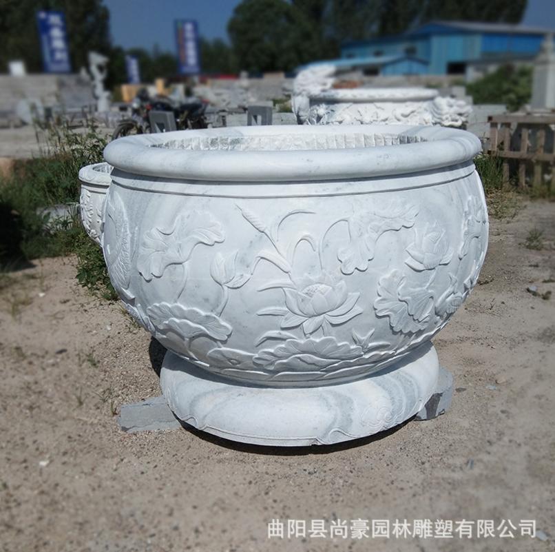 厂家供应精品汉白玉石雕九龙壁鱼缸花盆雕刻户外庭院景观容器摆件