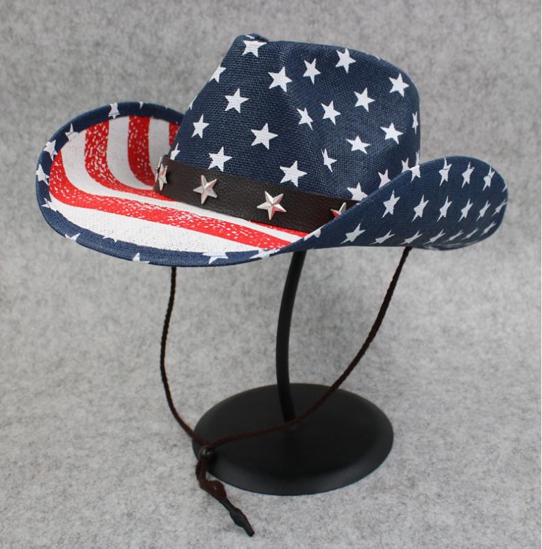 复古个性美国国旗西部牛仔帽子毡帽礼帽厂家供应