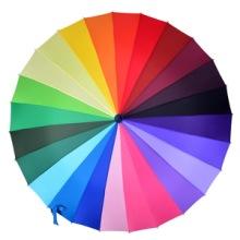 厂家直销超大24骨直骨彩虹伞长柄大双人伞自动24色碰击布晴雨彩色雨伞广告伞可定做LOGO图片