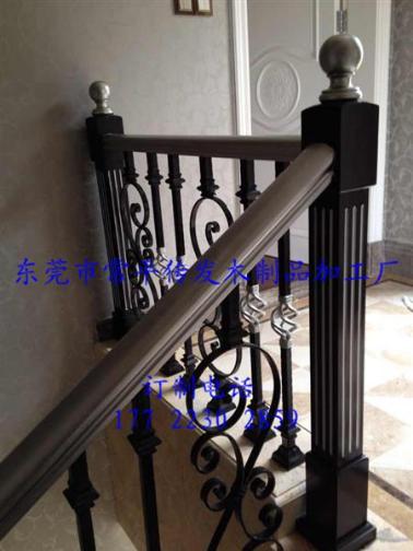 广东东莞常平实木欧式铁艺楼梯扶手厂家直销