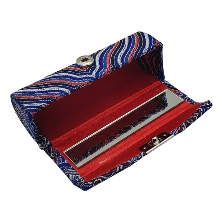 厂家直销中式古典棉麻金粉花布刺绣金属口红盒优质单支绸缎口红盒