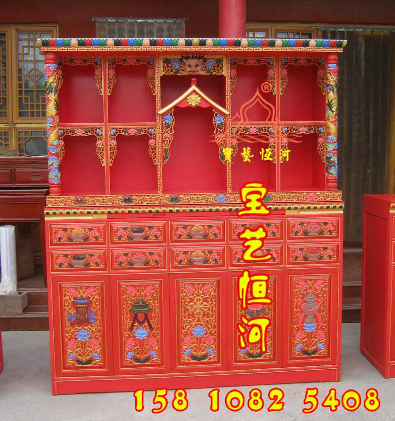 109藏式彩绘佛龛定做三层佛台佛柜