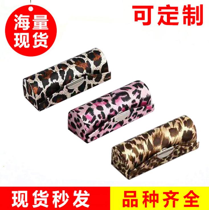 厂家直销豹纹丝绸口红盒系列 单支绸缎口红盒 刺绣口红盒定做