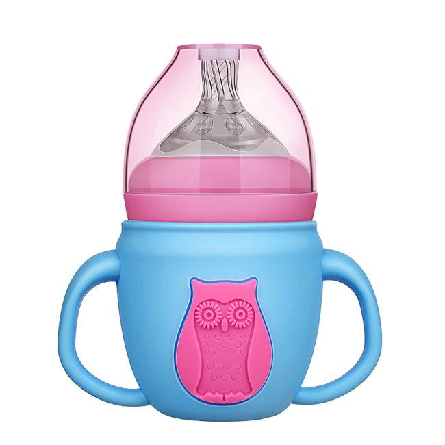 宽口玻璃奶瓶宝宝奶瓶带硅胶套带手柄吸管婴幼儿童奶瓶批发   带硅胶套防爆玻璃奶瓶