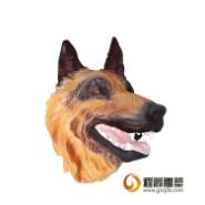高浮雕玻璃钢动物狗头雕塑图片