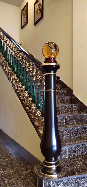 佛山铜加玉石楼梯订做厂-聚福龙铜门