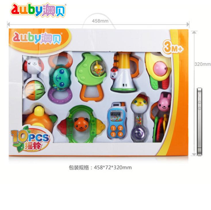 澳贝10只组合牙胶奥贝463129礼盒新生婴儿宝宝玩具0-1岁玩具
