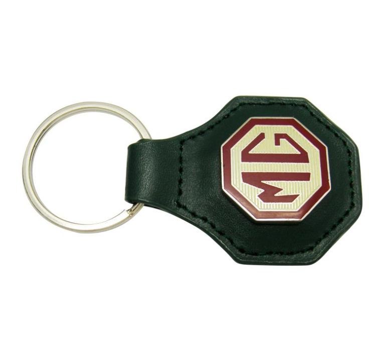 真 皮珐琅钥匙扣定制,MG车标钥匙扣制作 4s店高档促销礼品