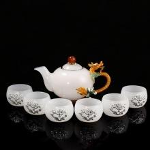 创意珐琅彩神龙功夫茶具白玉瓷套装家用茶壶茶杯七件套礼品定制