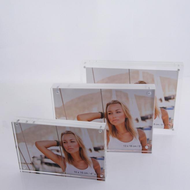 厂家直销透明相框 亚克力相框 方形磁铁相框 简约两款尺寸 亚克力相框摆台 方形磁铁相框报价 方形磁铁相框批发