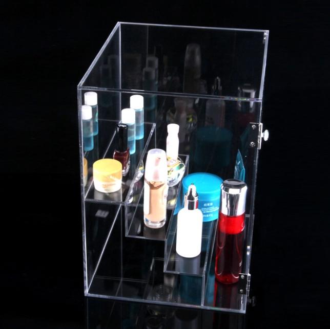 可开门三层收纳盒 透明亚克力收纳盒 化妆品架收纳盒  化妆品收纳盒 护肤品收纳盒 桌面整理架子 化妆品架收纳盒报价